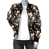 Pink Flower Pattern Bomber Jacket