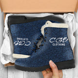 Denim Faux Fur Leather Boots