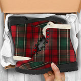Green Plaid Faux Fur Boots