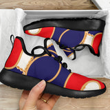 Red And Blue Chain Mesh Knit Sneakers