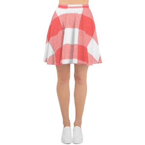 Coral Plaid Skater Skirt