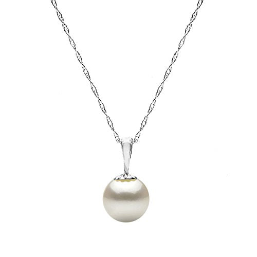 14K White Gold White Freshwater Cultured Pearl Necklace Pendant Chain Jewelry Women 18 inch