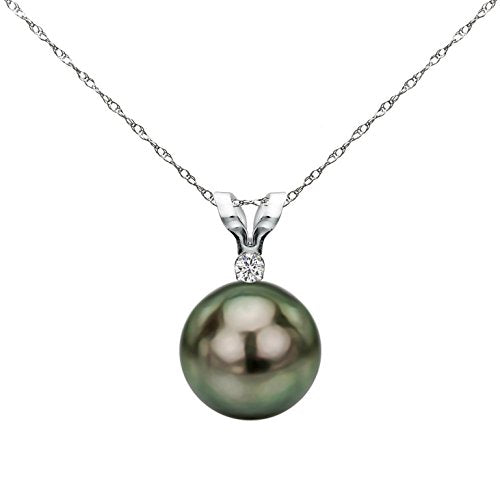 14K White Gold Diamond Necklace Chain South Sea Tahitian Cultured Pearl Pendant Jewelry AAA+ 9-9.5mm