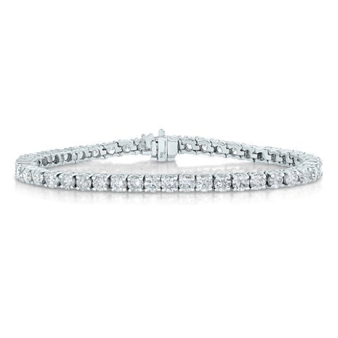 AGS Certified 4 CT SI2-I1 Diamond Tennis Bracelet 14K White Gold (G-H)