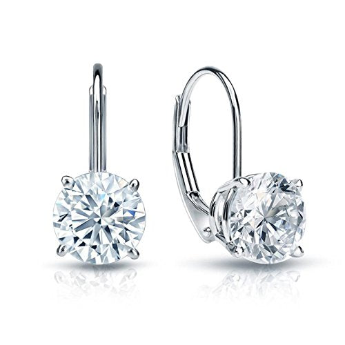 1.0 CT BRILLIANT ROUND CUT Simulated Diamond CZ Solitaire DROP DANGLE LEVERBACK EARRINGS 14K WHITE GOLD