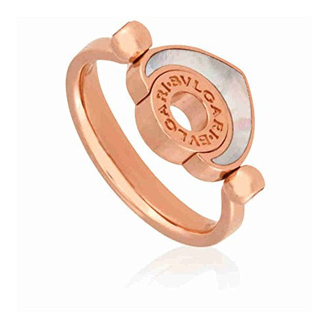 Bvlgari Bvlgari Cuore 18K Rose Gold Mother of Pearl Ring - Size 51