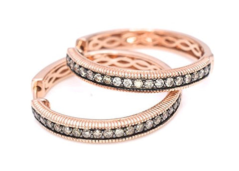 "LeVian Hoops Earrings 5/8 ct Chocolate Diamonds 14k Rose Gold 1"" drop / diameter"