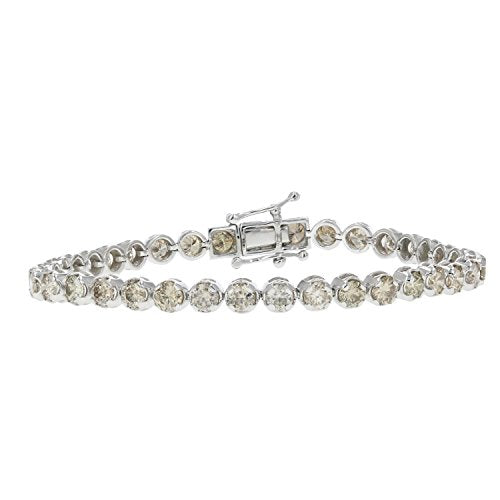 7 CT 14K White Gold Champagne Diamond Tennis Bracelet