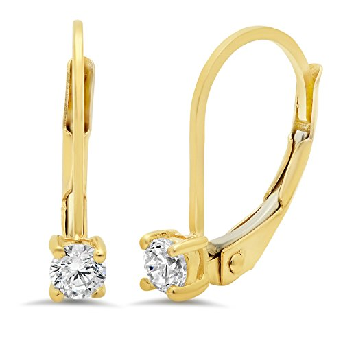 0.50 CT BRILLIANT ROUND CUT Simulated Diamond CZ Solitaire DROP DANGLE LEVERBACK EARRINGS 14K Yellow GOLD