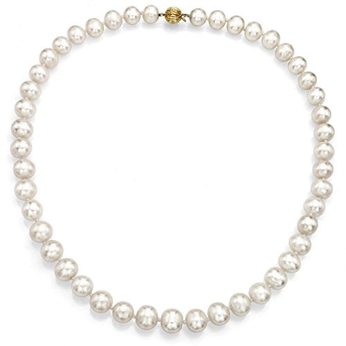 "14k Yellow Gold 8.5-9.5mm White Freshwater Cultured Pearl Ball-clasp Necklace, 18"" Jewelry Gift For Women"