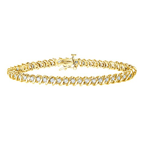 14k Yellow Gold Round-cut Diamond Tennis Link Bracelet (1 cttw, J-K, I2-I3)