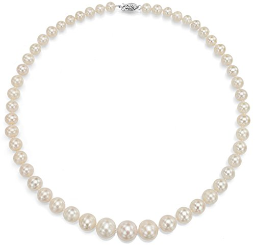 18K White Gold White Cultured Freshwatwer Pearl Necklace Bridal Jewelry Graduated 6-11mm 18 inch