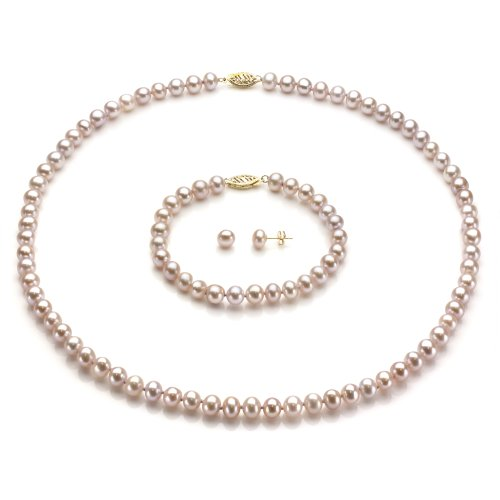 14k Yellow Gold 6-6.5mm Pink Freshwater Cultured Pearl Necklace, Bracelet and Stud Earrings Set