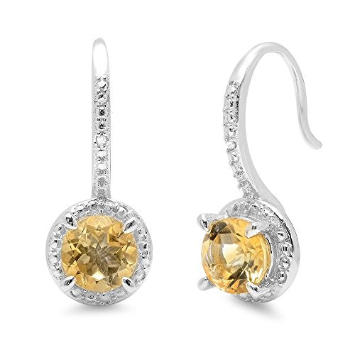 1.42 Carat (ctw) Sterling Silver Round Citrine & White Diamond Accents Ladies Halo Dangling Drop Earrings