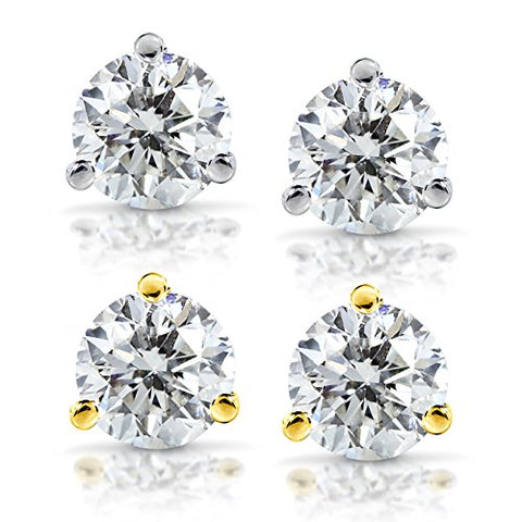 Diamond Stud Earrings 1/2 Carat (ctw) in 14K White or Yellow Gold