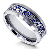 8mm Celtic Dragon High Polish Comfort Fit Mens Tungsten Carbide Ring - Size 10