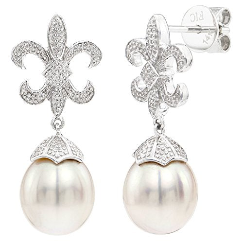 14k White Gold Illusion Fancy Leaf-design 9-9.5mm AAA White Freshwater Cultured Pearl Stud Earrings