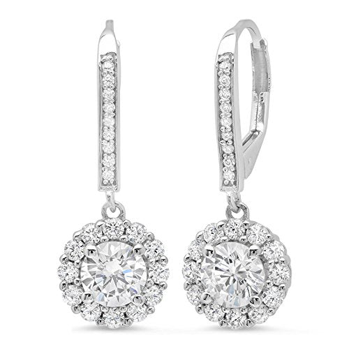 3.60 CT ROUND CUT CZ Solitaire Halo PAVE DROP DANGLE LEVERBACK EARRINGS 14K White GOLD