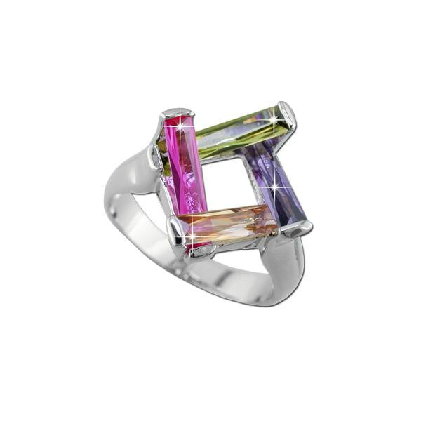 Four Color Baguette Basket Ring