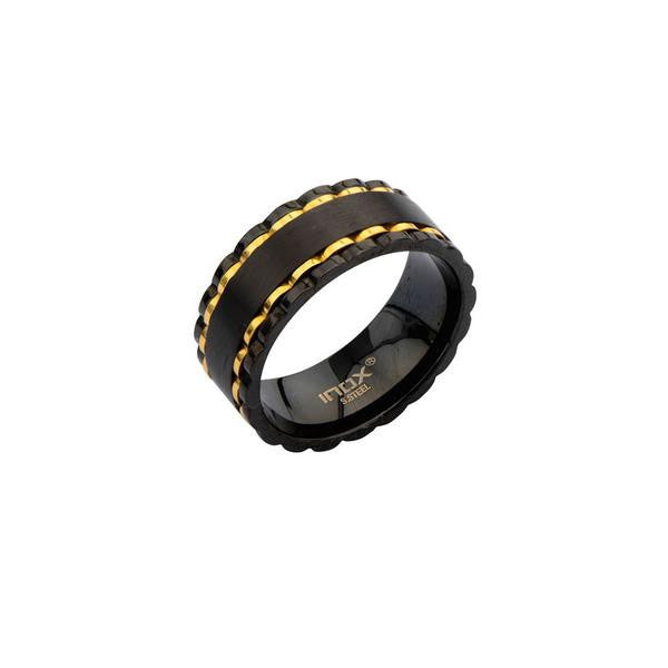 Black & Gold Spinner Men's Ring