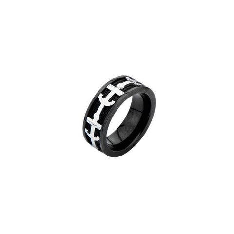 Black Cable Anchors Men's Ring