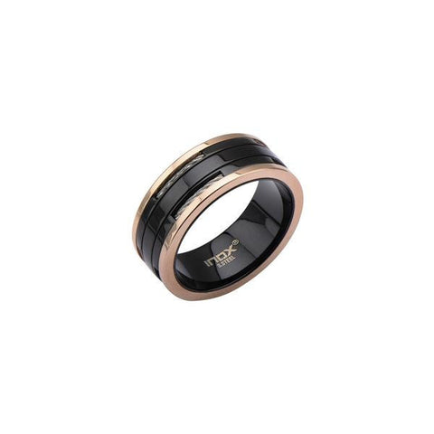 Black Cable Rose Gold Band Men's Ring