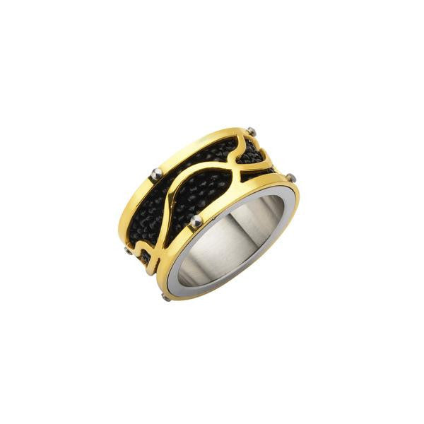Black & Gold Stingray Men's Ring