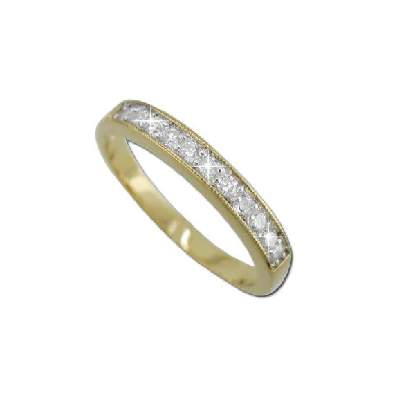 11 Stone Half Eternity Band Gold Ring