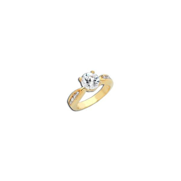 Gold 2ct Round On Tapered Shank Ring