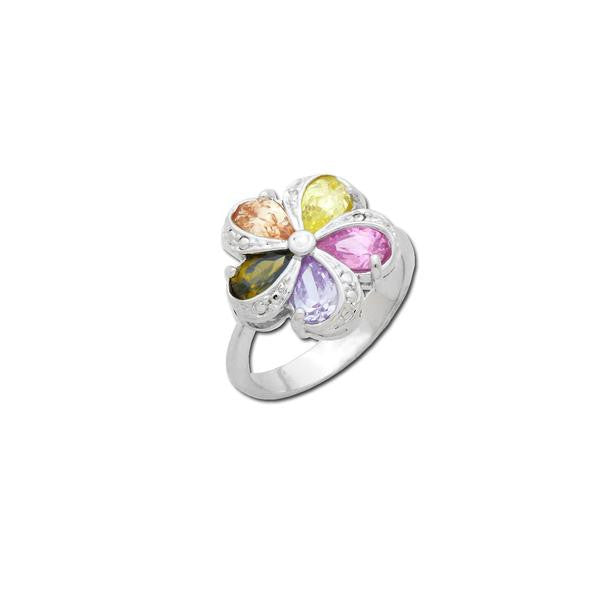Multicolor Pear Cut Flower Ring