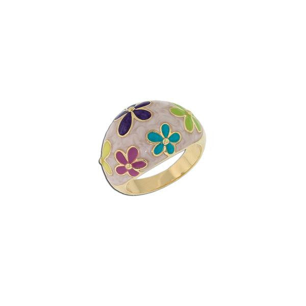 Multicolor Enamel Flower Ring
