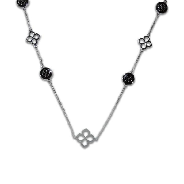 "42"" Black Enamel Clover Necklace"