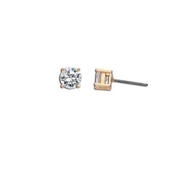 Gold 1ct Round Cut Stud Earrings