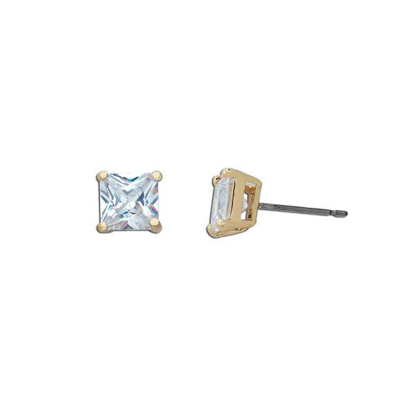 Gold 1ct Princess Cut Stud Earrings