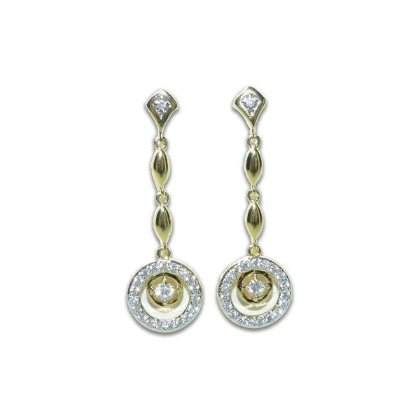 Gold Pavé Circle Drop Earrings