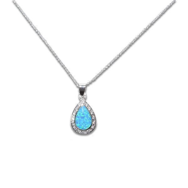 Teardrop Blue Opal Necklace