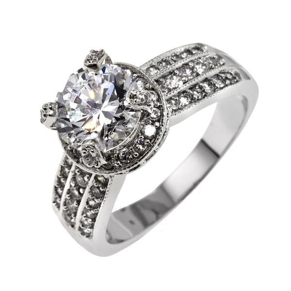 2.5ct Round In Pavé Mount Ring