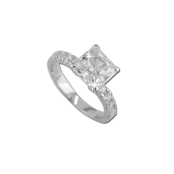 Square Cut On Pave Band Ring