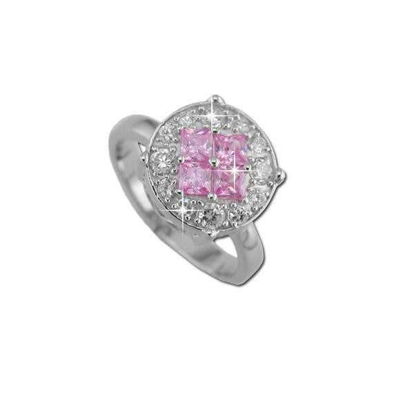 4 Square Cut Pink CZs Ring