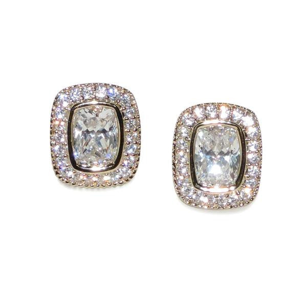 Gold 1.25ct Cushion Cut Pavé Earrings