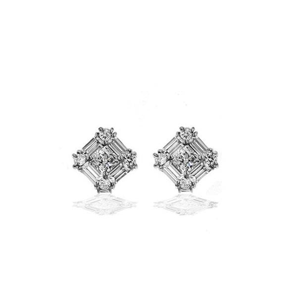 1/3ct Square With Baguettes & Rounds Earrings