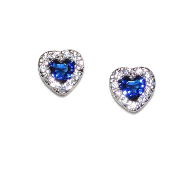 Pavé Sapphire Heart Stud Earrings