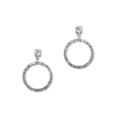 Pavé Circle Earrings With 0.25 Carat Solitaire