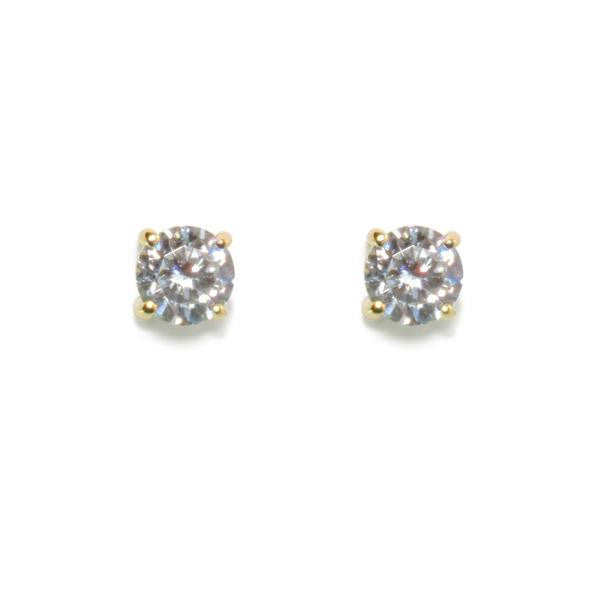 Gold 1ct Round Stud Earrings