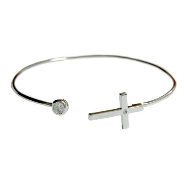 Open Cross Bangle Bracelet