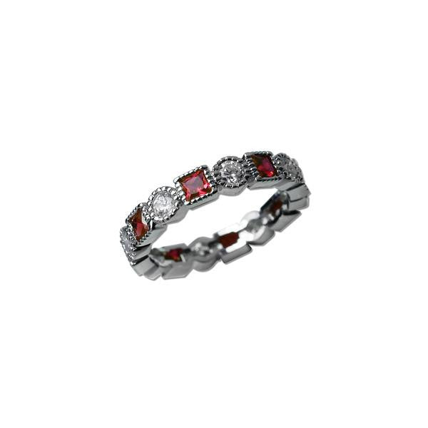 Square Cut Ruby & Round Cut Band Ring