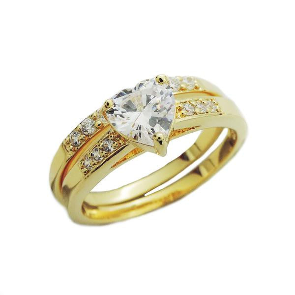 Gold Heart Engagement Ring Set