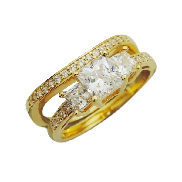 Gold Pavé Princess Cut Engagement Ring Set