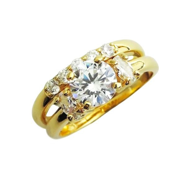 Gold Round Cut Rounded Band Engagement Ring Set