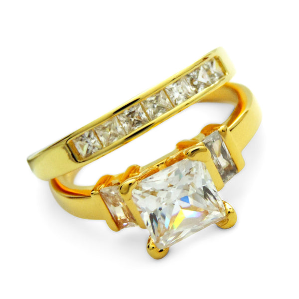 Gold Princess Engagement Ring Set